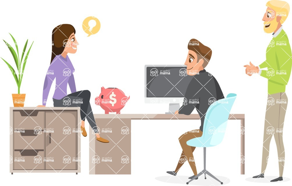 Collection of Business Vector graphics in flat design - Business People Talking in Office