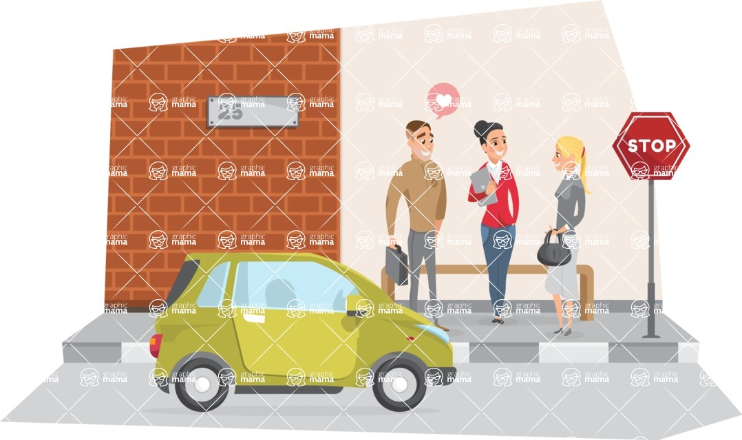 Collection of Business Vector graphics in flat design - Business People Talking on Street