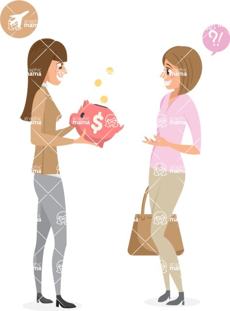 Collection of Business Vector graphics in flat design - Business Women Talking