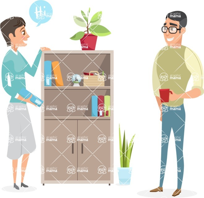Collection of Business Vector graphics in flat design - Colleagues Meet in the Office