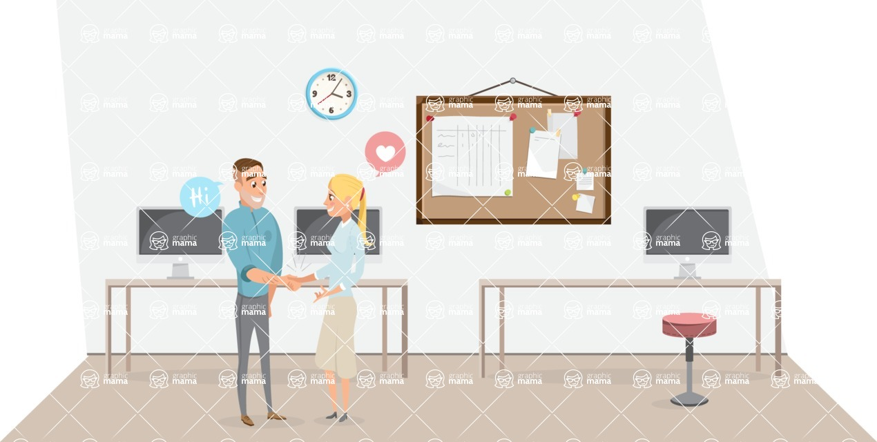 Collection of Business Vector graphics in flat design - Colleagues Meeting in Office