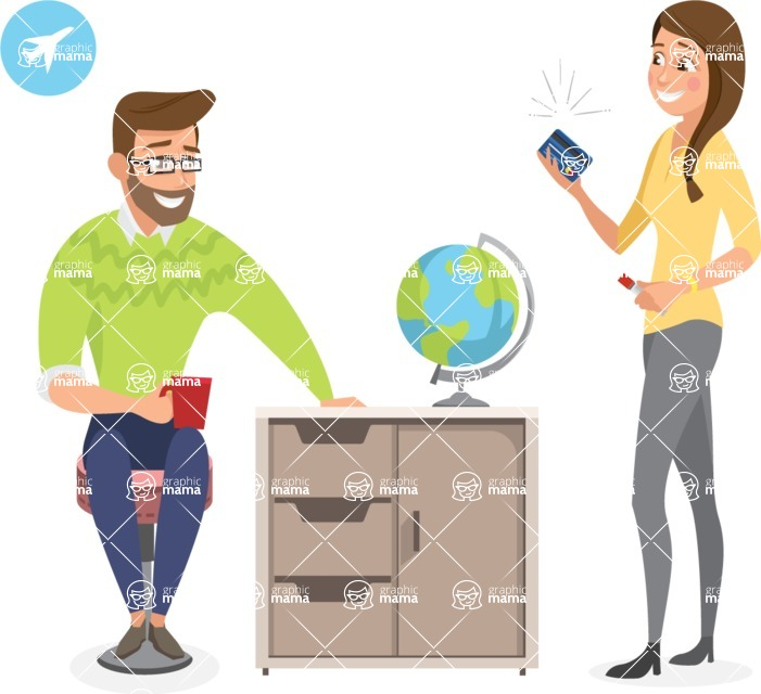 Collection of Business Vector graphics in flat design - Colleagues Talking About Travelling