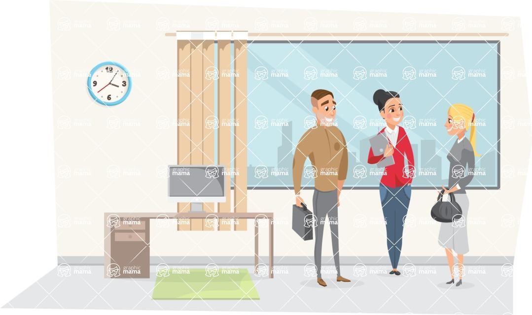 Collection of Business Vector graphics in flat design - Colleagues Talking in Office