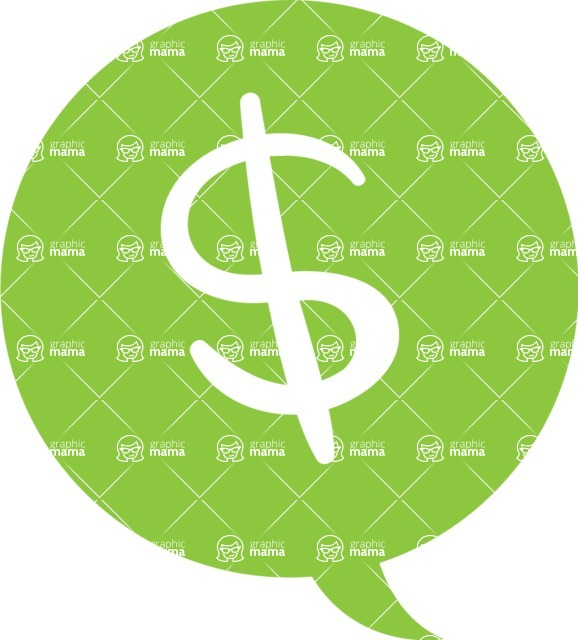 Collection of Business Vector graphics in flat design - Dollar Symbol