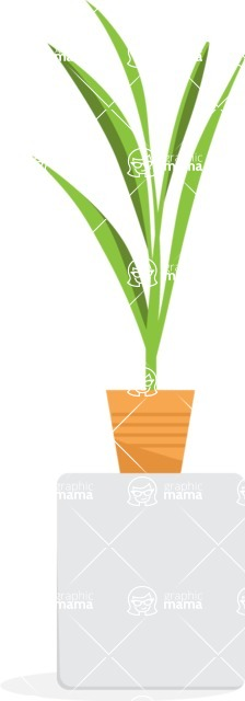 Collection of Business Vector graphics in flat design - Flower Plant in Pot
