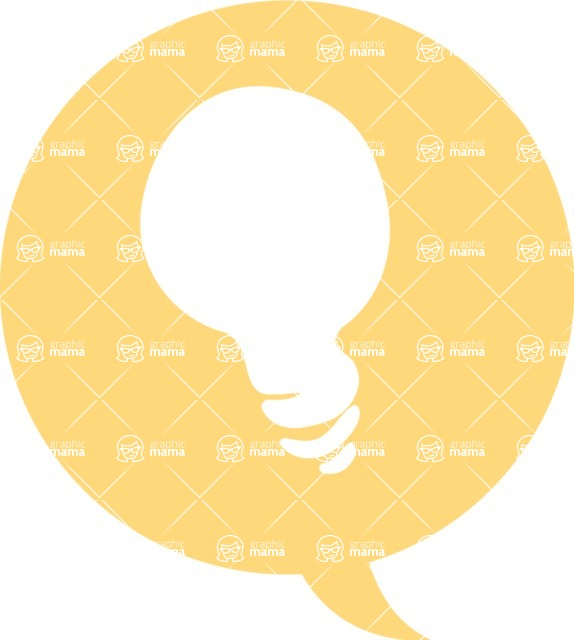 Collection of Business Vector graphics in flat design - Idea Thought Bubble