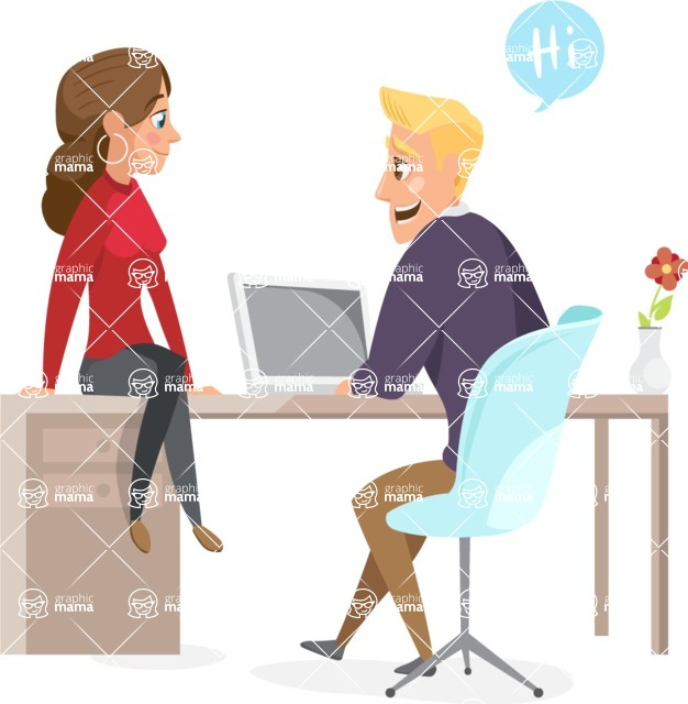 Collection of Business Vector graphics in flat design - Man and Woman in the Office