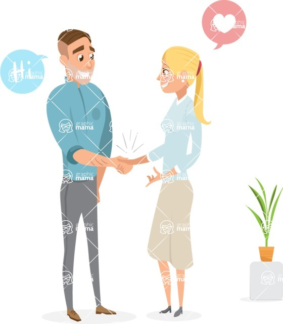 Collection of Business Vector graphics in flat design - Man and Woman Meeting