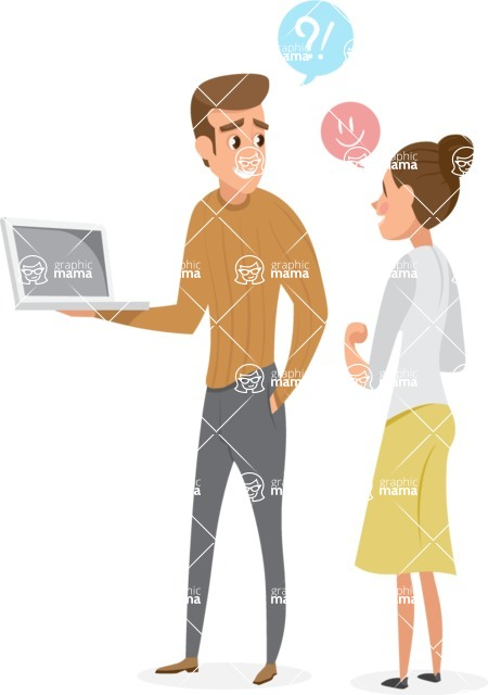 Collection of Business Vector graphics in flat design - Man and Woman Talking