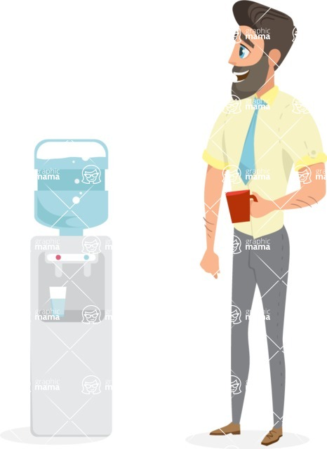 Collection of Business Vector graphics in flat design - Man Using Water Dispenser
