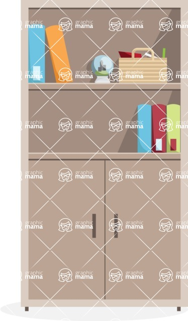 Collection of Business Vector graphics in flat design - Office Bookcase