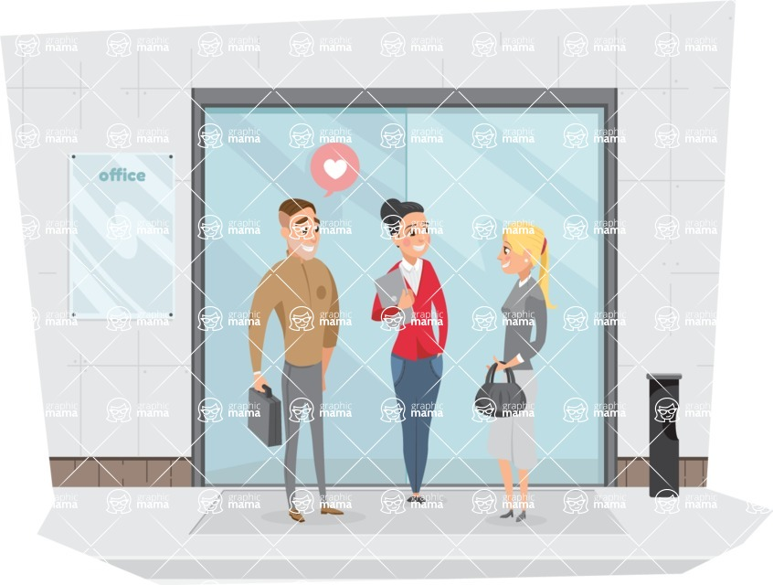 Collection of Business Vector graphics in flat design - People Talking at Business Building
