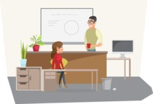 Collection of Business Vector graphics in flat design - Boss and Secretary in Office
