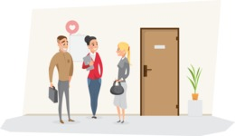 Collection of Business Vector graphics in flat design - Business People Talking in Hallway