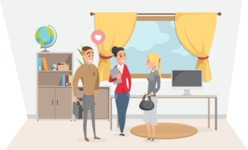 Collection of Business Vector graphics in flat design - Business People Talking in Room