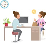Collection of Business Vector graphics in flat design - Business Woman and Client in Office