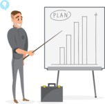 Collection of Business Vector graphics in flat design - Businessman Presenting Plan
