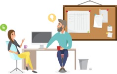 Collection of Business Vector graphics in flat design - Colleagues Chatting in Office