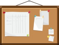 Collection of Business Vector graphics in flat design - Corkboard with notes