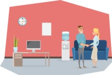 Collection of Business Vector graphics in flat design - Man and Woman Meeting at Reception