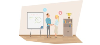 Collection of Business Vector graphics in flat design - Man and Woman Meeting in Office