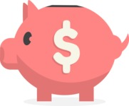 Collection of Business Vector graphics in flat design - Pig Moneybox