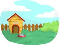 Dog House in a Backyard