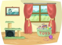 Living Room with Pet Toys