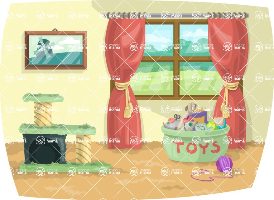 Pet Vectors - Mega Bundle - Living Room with Pet Toys
