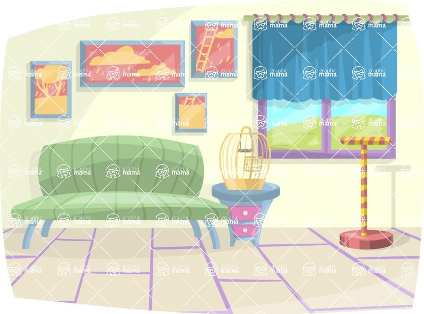 Pet Vectors - Mega Bundle - Living Room with Parrot Accessories