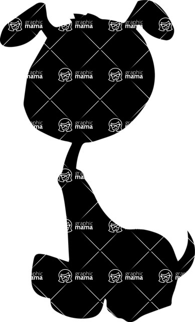 Pet Vectors - Mega Bundle - Puppy Sitting Silhouette