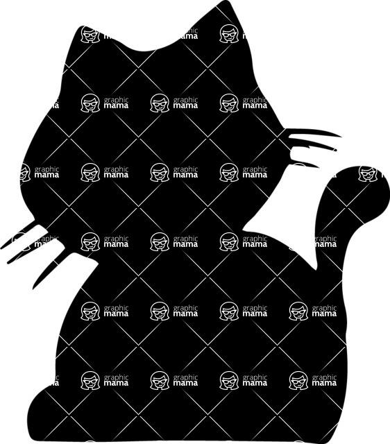 Pet Vectors - Mega Bundle - Puffy Cat Silhouette