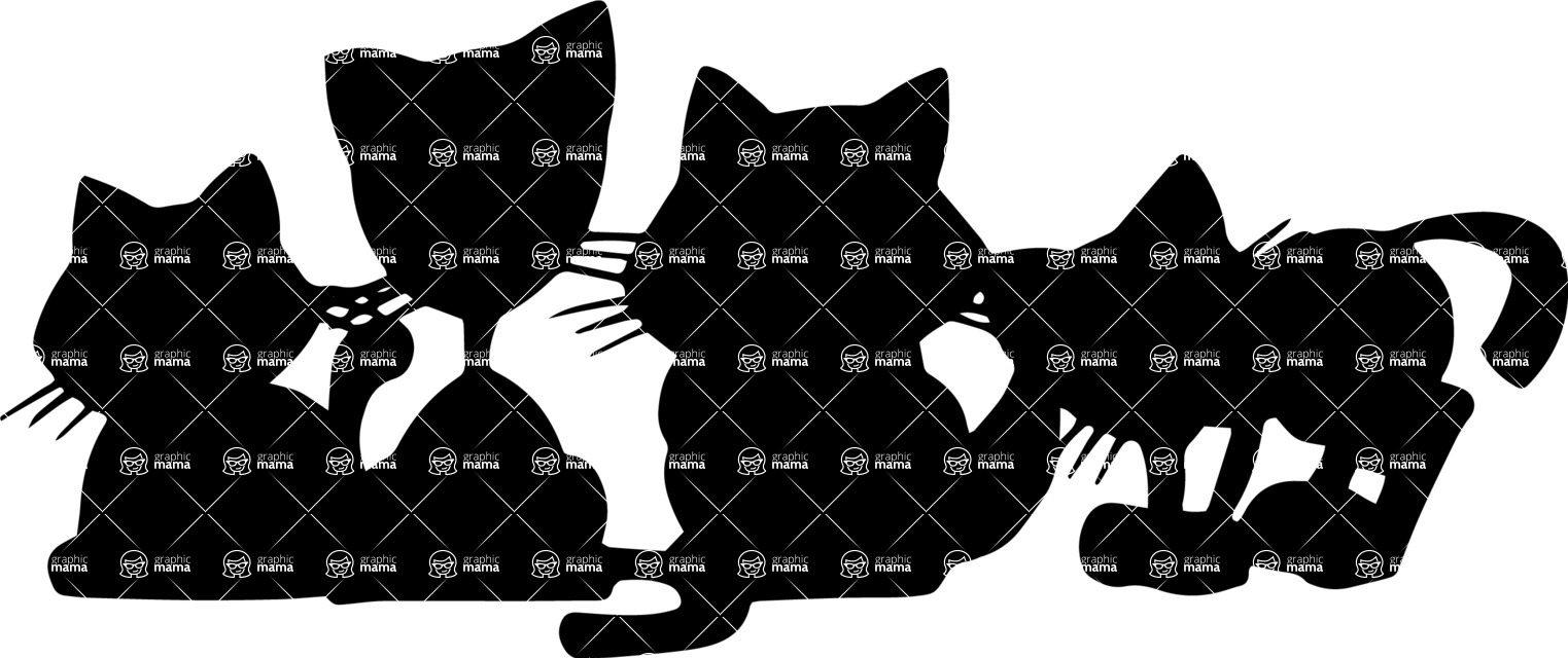 Pet Vectors - Mega Bundle - Group of Kittens Silhouette
