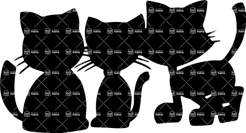 Pet Vectors - Mega Bundle - Cute Kittens Silhouette
