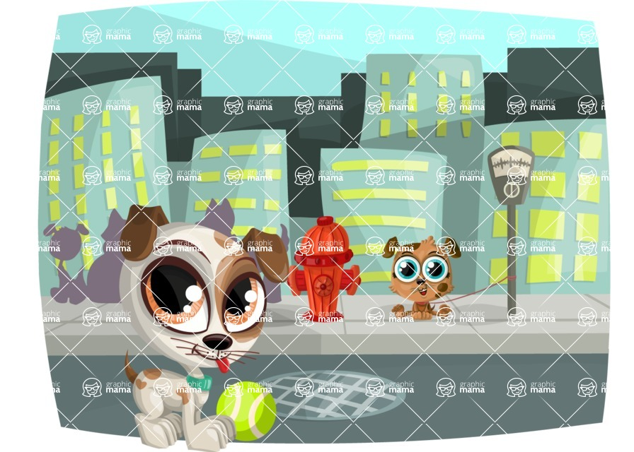 Pet Vectors - Mega Bundle - Puppies Playing in the Street