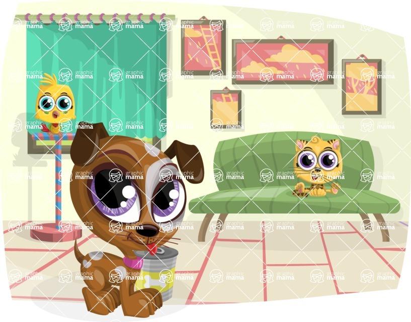 Pet Vectors - Mega Bundle -  Baby Pet Animals at Home