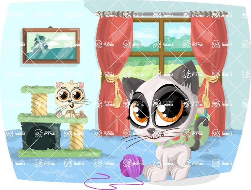 Pet Vectors - Mega Bundle - Cats Playing at Home