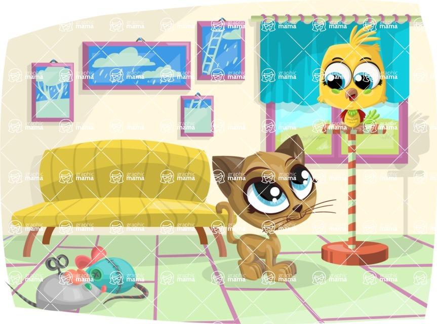 Pet Vectors - Mega Bundle - Kitten and Parrot at Home