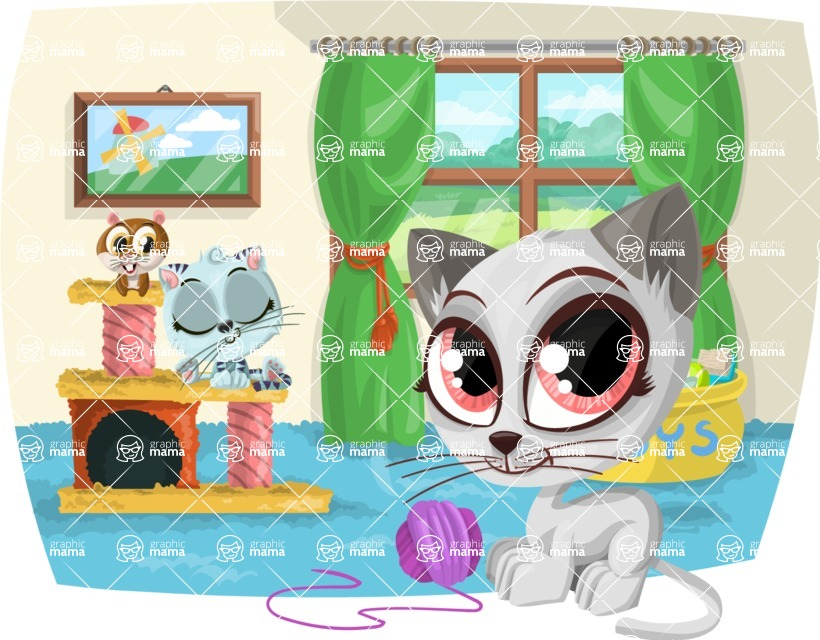 Pet Vectors - Mega Bundle - Kittens Playing in the House