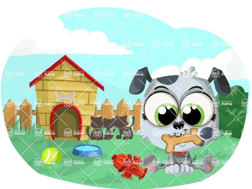 Pet Vectors - Mega Bundle - Puppy in the Backyard