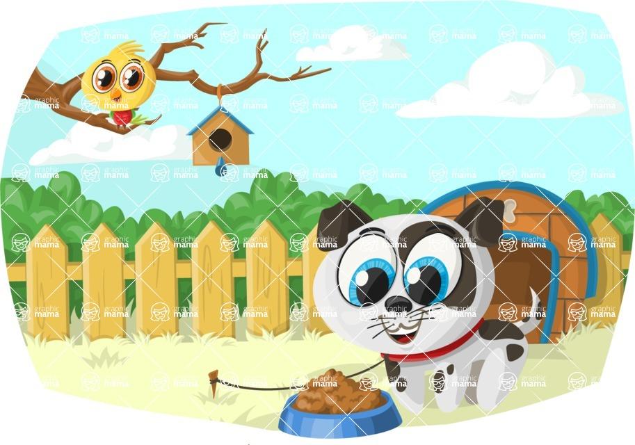 Pet Vectors - Mega Bundle - Puppy and Bird in the Yard