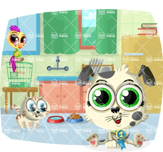 Pet Vectors - Mega Bundle - Cute Pets in the Kitchen