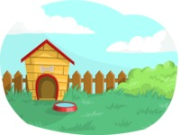 Pet Vectors - Mega Bundle - Dog House in a Backyard