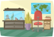 Pet Vectors - Mega Bundle - Office with a Fish Tank