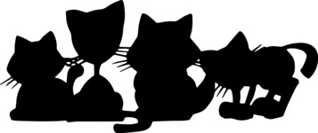 Animals: Best Buds - Group of Kittens Silhouette