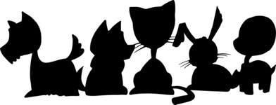 Animals: Best Buds - Group of Pets Silhouette