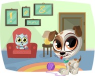 Pet Vectors - Mega Bundle - Pets Playing at Home