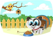 Pet Vectors - Mega Bundle - Puppy and Bird in the Yard