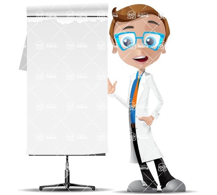 Mad Scientist Guy Cartoon Vector Character AKA Doctor Dorkster - Presentation 3