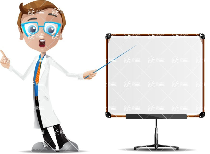 Mad Scientist Guy Cartoon Vector Character AKA Doctor Dorkster - Presentation 4